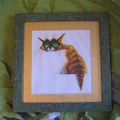 """Вышитая картина """"Кот из Зазеркалья"""""""