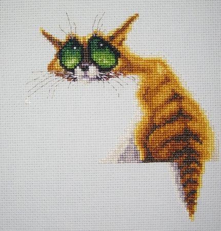"""Вышитая картина """"Кот из Зазеркалья"""" ручной работы на заказ"""
