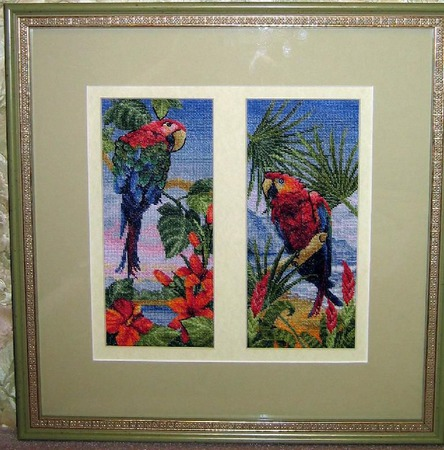 "Вышитая картина ""Пальмовый рай"" ручной работы на заказ"