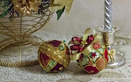 Текстильный новогодний шар ручной работы на заказ