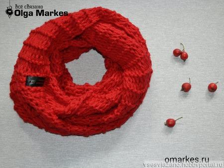 Красный снуд женский ручной работы на заказ