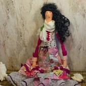 Текстильная кукла с ящеркой