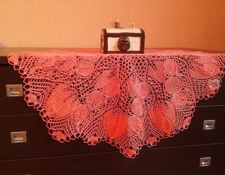 """Ажурная салфетка Fuchsienblueten """"Розовая фуксия"""" ручной работы на заказ"""