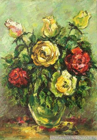 Картина Розы, картон, масло ручной работы на заказ