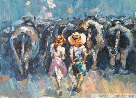 Картина Пастушки, картон грунтованный, масло ручной работы на заказ