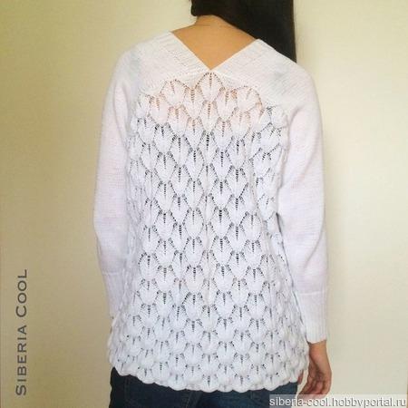 Вязаный свитер Белоснежный Ажур ручной работы на заказ