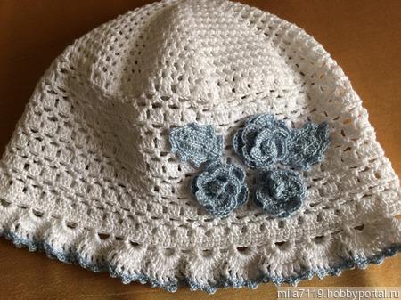 Детская шапочка с цветочками ручной работы на заказ