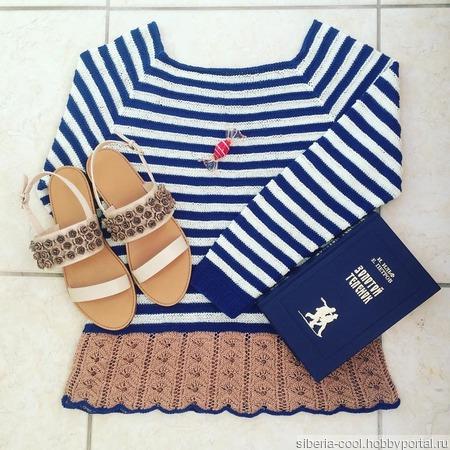 Вязаный свитер Тельняшка ручной работы на заказ