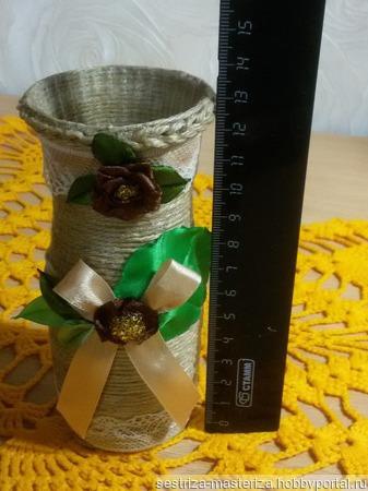 Джутовая мини-ваза ручной работы на заказ