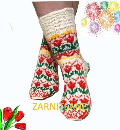 """Носки  """"Праздничные"""" подарок женщине девушке на 8 марта ручной работы на заказ"""