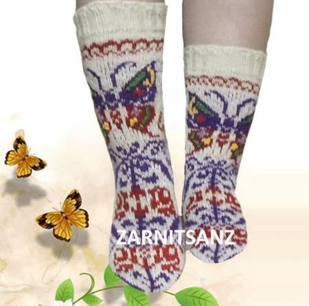 """Носки  """"Бабочка"""" подарок женщине девушке на 8 марта ручной работы на заказ"""