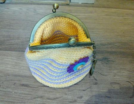 Кошелёк для мелочи вязаный крючком с фермуаром ручной работы на заказ