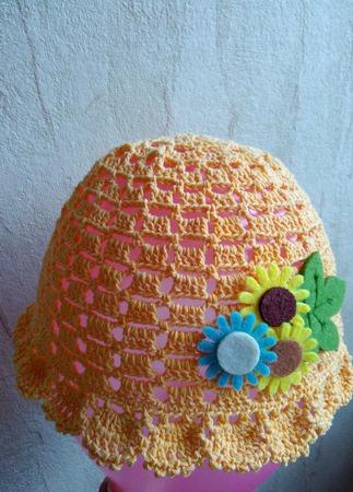 Летняя вязанная крючком шапочка-панамка для девочки ручной работы на заказ