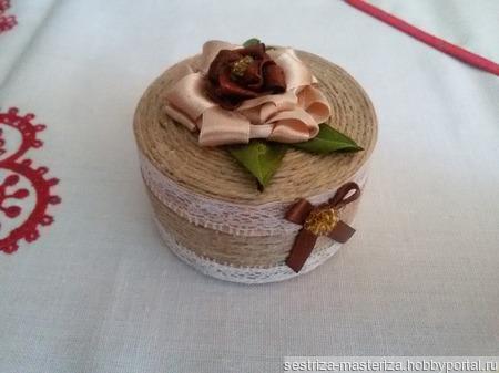Мини-шкатулка из джута ручной работы на заказ