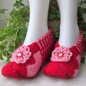 Тапочки женские Кокетка красные подарок на 8 марта