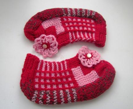 Тапочки женские Кокетка красные подарок на 8 марта ручной работы на заказ