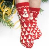 """Носки """"Красные рождественские"""" женские"""