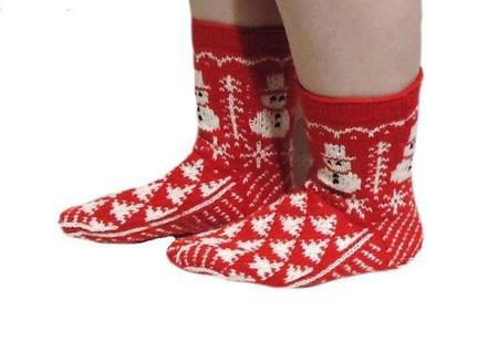 """Носки """"Красные рождественские"""" женские ручной работы на заказ"""