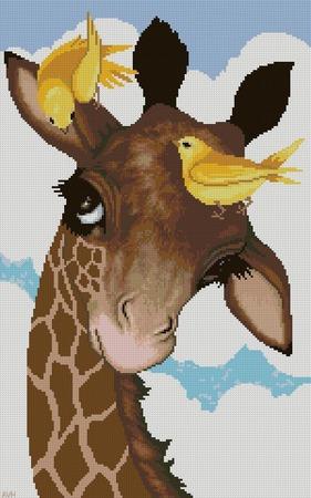 Схема вышивки Жирафик и птички ручной работы на заказ