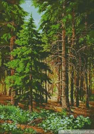 Схема вышивки Хвойный лес ручной работы на заказ