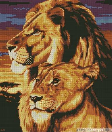 Схема вышивки Лев и львица ручной работы на заказ