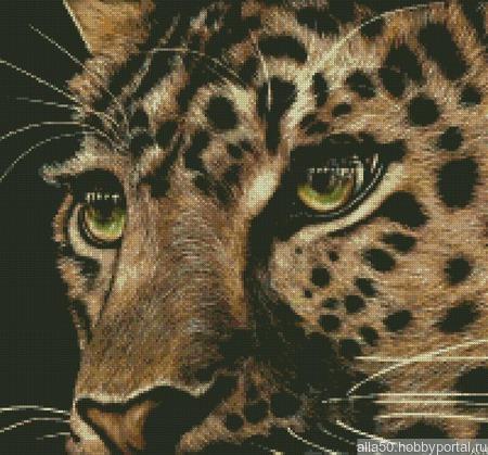 Взгляд леопарда. Схема вышивки крестом ручной работы на заказ