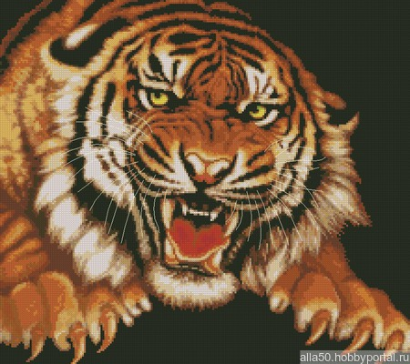 Схема вышивки Ярость тигра ручной работы на заказ