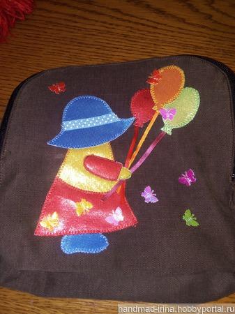 Джинсовый рюкзак детский ручной работы на заказ
