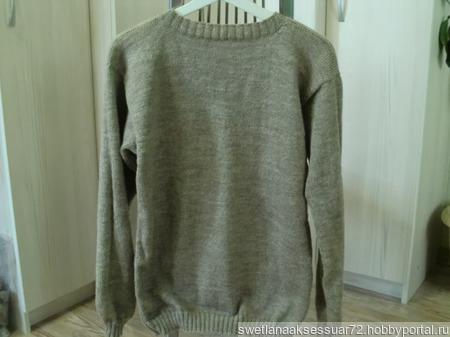 Мужской пуловер бежевый ручной работы на заказ