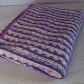 Плед вязаный меланж в фиолетово-белых тонах