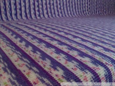 Плед-покрывало жаккард в фиолетово-белых тонах ручной работы на заказ