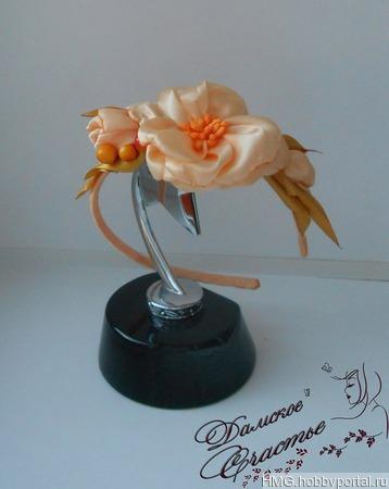 """Ободок """"Розовый цветок"""" ручной работы на заказ"""