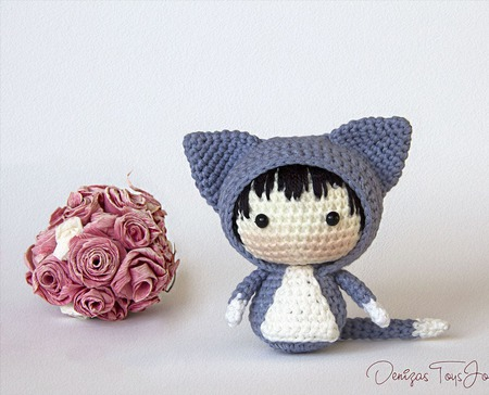 """Крючковый Мастер-класс """"Маленькая куколка Кошечка из серии Tanoshi"""" ручной работы на заказ"""