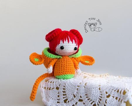 """Крючковый Мастер-класс """"Маленькая куколка Обезьянка из серии Tanoshi"""" ручной работы на заказ"""