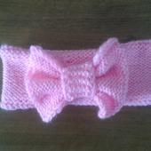 Повязка розовая на голову для девочки с бантом