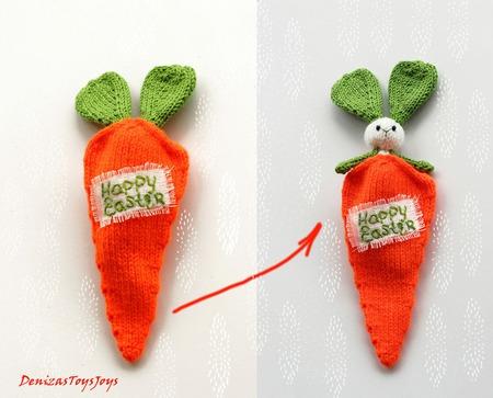 """Мастер-класс """"Пасхальная шутка. Зайка в морковке"""" ручной работы на заказ"""