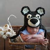 """Мастер класс """"Шапочка - Мишка для новорожденного"""""""