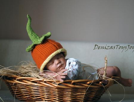"""Мастер класс """"Шапочка - Тыква для новорожденного"""" ручной работы на заказ"""