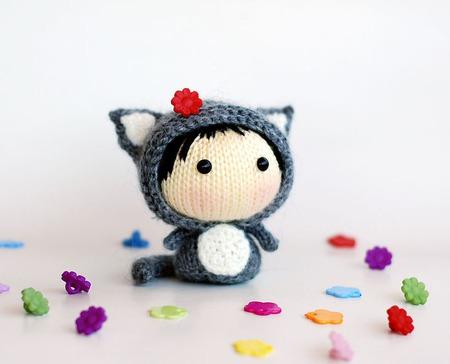 """Мастер-класс """"Маленькая куколка Серая Кошка из серии Tanoshi"""" ручной работы на заказ"""