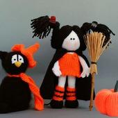 "Мастер класс "" Хэллоуин. Ведьмочка, черный кот и тыква"""