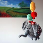 """Мастер-класс """"Воздушный Летающий Слон с 3 разноцветными шарами."""""""