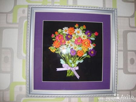 """Вышивка лентами """"Цветы"""" ручной работы на заказ"""