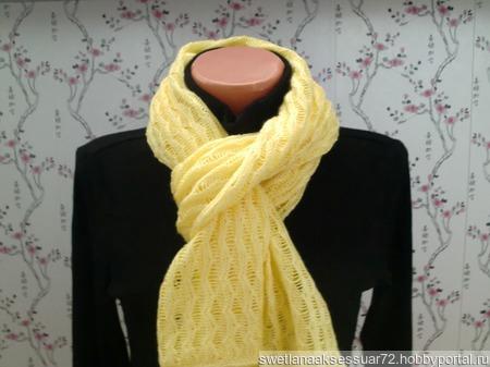 Шарф-палантин вязаный желтый ручной работы на заказ