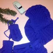 Детский комплект: шапка-шлем, шарф и варежки