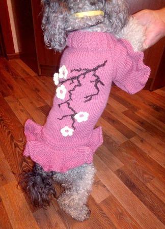 """Вязаная одежда для собак и кошек. Платьице для собачки """"Сакура"""" ручной работы на заказ"""