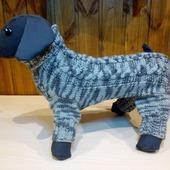 Вязаная одежда для собак и кошек. Вязаный комбинезон для собачки