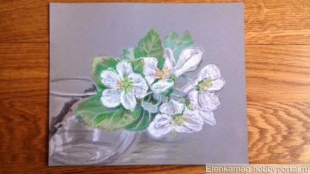 Яблони цвет в раме ручной работы на заказ