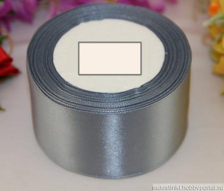 Однотонная атласная лента 50 мм ручной работы на заказ