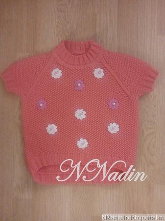 Пуловер для девочки с коротким рукавом ручной работы на заказ