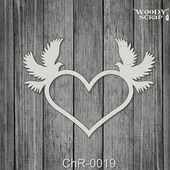 "Чипборд Рамка ""Сердце с голубями"""